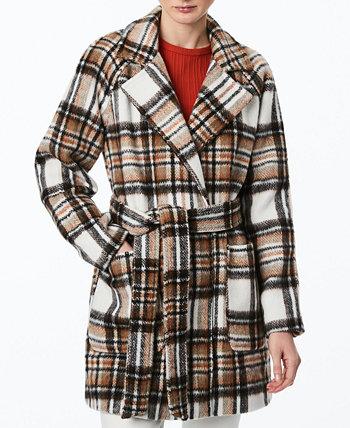 Юниорское клетчатое пальто с запахом и поясом Collection B