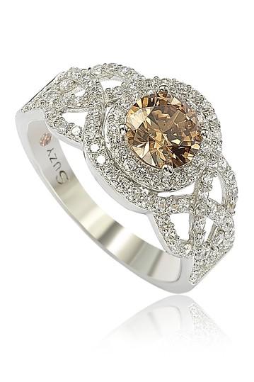 Серебряное свадебное кольцо с коричневым CZ Suzy Levian