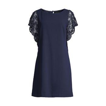 Платье-трапеция с кружевными рукавами Aidan Mattox