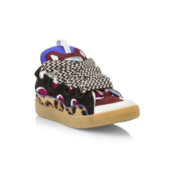 Кроссовки Curb с низким берцем из разных материалов Lanvin