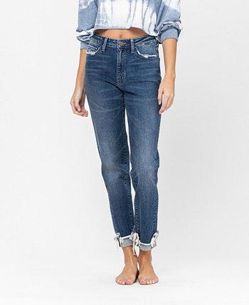 Women's Cuffed Distressed Hem Stretch Slim Boyfriend Jeans FLYING MONKEY