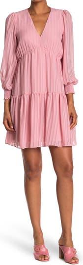 Shadow Stripe V-Neck 3/4 Sleeve Flounce Hem Dress Gabby Skye