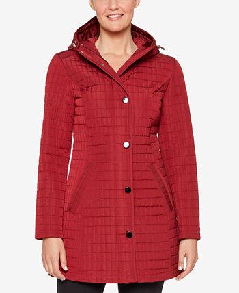 Стеганое пальто с капюшоном Jones New York