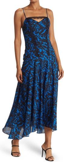 Zebra Print Lace Trim Asymmetric Maxi Dress Jason Wu