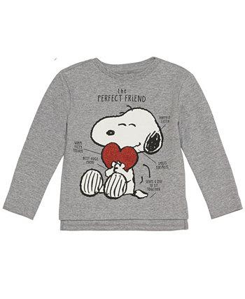 Флисовый топ с длинными рукавами Peanuts Snoopy для маленьких девочек Disney