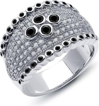 Кольцо из стерлингового серебра с платиновым напылением и имитацией бриллиантового кольца с паве и безелем LaFonn