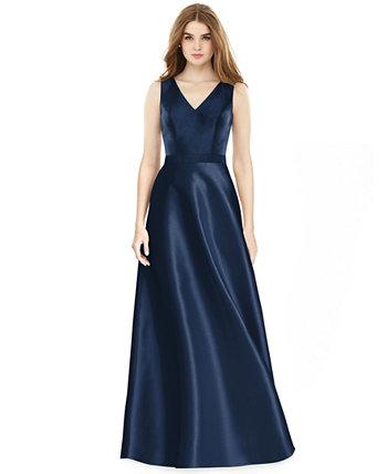 Атласное платье трапеции Alfred Sung