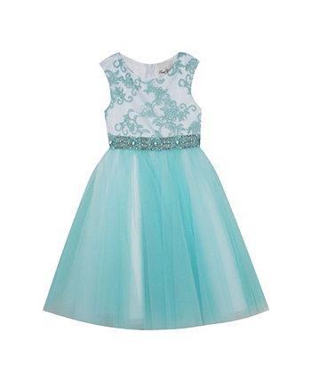 Сетчатое платье с вышивкой для маленьких девочек Rare Editions