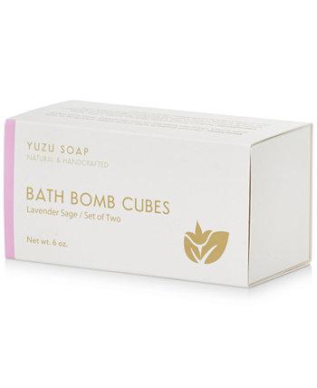 Кубики бомбы для ванны - лавандовый шалфей, 6 унций. Yuzu Soap