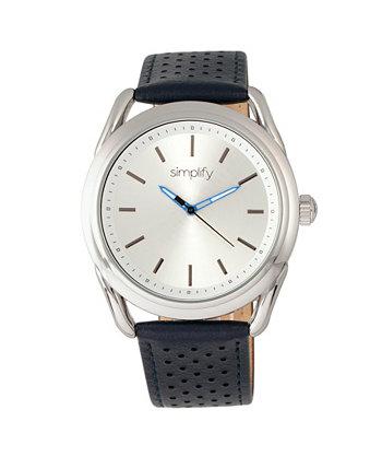 Quartz The 5900 Silver Case, часы из натуральной синей кожи 43 мм Simplify