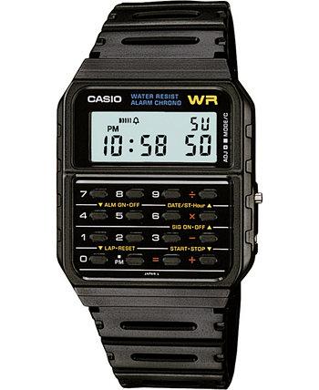 Часы унисекс с цифровым калькулятором, черный полимерный ремешок, 35 мм Casio