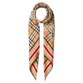 Шелковый квадратный шарф в клетку в винтажную клетку с логотипом Burberry