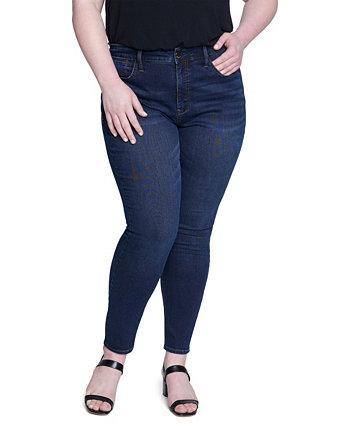 Женские фактурные обтягивающие джинсы больших размеров с высокой посадкой Seven7
