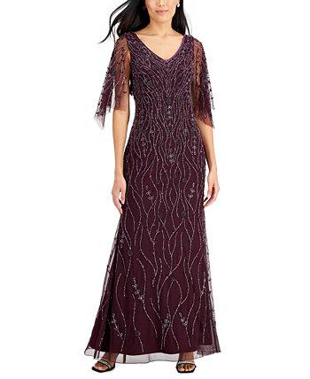 Платье с V-образным вырезом и бисером с развевающимися рукавами J Kara