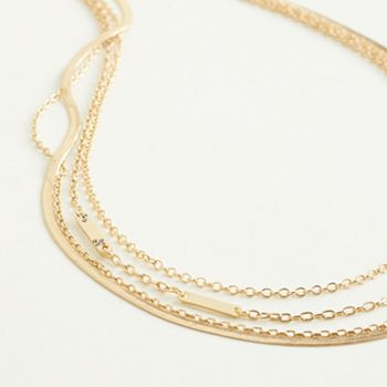 Elizabeth and James Gold Tone Multi-Chain 4-Row Necklace with Scattered Simulated Crystal Elizabeth and James
