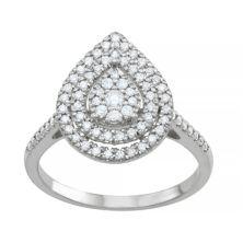 Тиара из стерлингового серебра 1/2 карата T.W. Кольцо Diamond Teardrop в виде кластера Tiara
