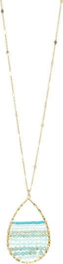 Ожерелье с подвеской в форме капли с кристаллами и бусинами Panacea