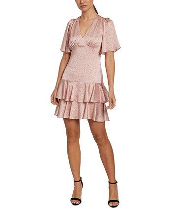 Puff-Sleeve Ruffled Sheath Dress Laundry by Shelli Segal
