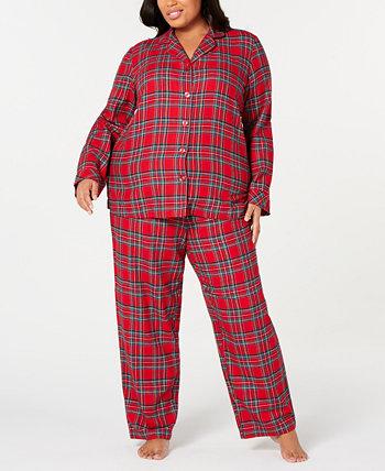 Подходящий семейный пижамный комплект Brinkley Plaid больших размеров, созданный для Macy's Family Pajamas
