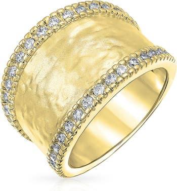 Кольцо с широким ремешком и кованым покрытием Pave CZ Bling Jewelry