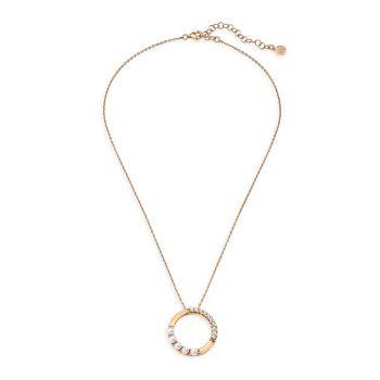 Ожерелье с подвеской в виде круга из стерлингового серебра и белого органического искусственного жемчуга 4 мм Majorica