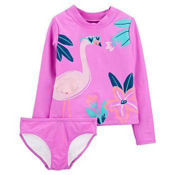 Girls 4-14 Carter's Flamingo Rashguard Top & Bottoms Swimsuit Set Carter's