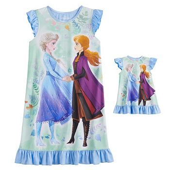 Disney's Frozen 2 Elsa and Anna Girls 4-8 Dorm Nightgown and Matching Doll Gown Licensed Character
