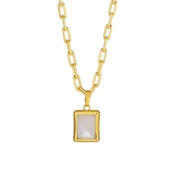 Фирменный багет с золотым покрытием 22K & amp; Ожерелье с большим кулоном из лунного камня DEAN DAVIDSON