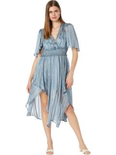 Дневное платье с драпировкой спереди и принтом BCBGMAXAZRIA
