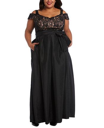 Платье большого размера с кружевным лифом R & M Richards