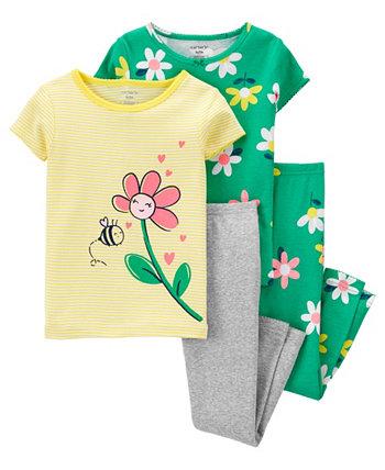 Пижамный комплект с цветочным рисунком для маленьких девочек, 4 предмета Carter's