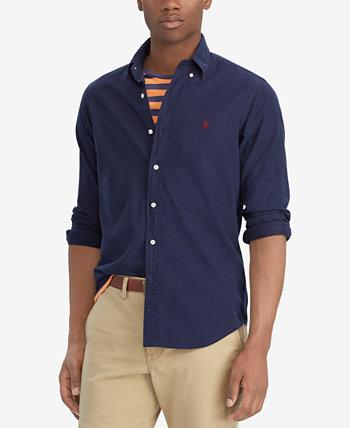 Мужская классическая рубашка с длинными рукавами и длинными рукавами, окрашенная в классическом стиле Ralph Lauren