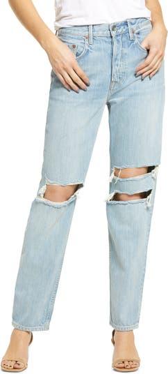 Рваные прямые джинсы из органического хлопка с завышенной талией Isabeli GRLFRND