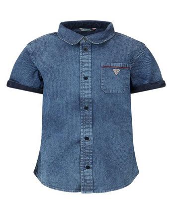 Джинсовая рубашка с короткими рукавами и пуговицами для больших мальчиков GUESS