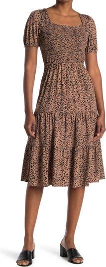 Платье миди со сборками с животным принтом 19 Cooper