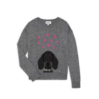 Little Girl's & Girl's Jacquard-Knit Dog Sweater Autumn Cashmere