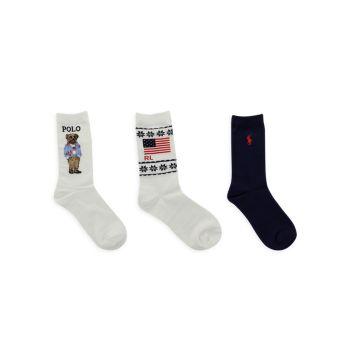 Маленькая девочка & amp; Набор из 3 носков в стиле пэчворк для девочек Ralph Lauren