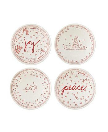 Набор 5,5-дюймовых чашек Crafted By Royal Doulton® Holiday Accent Bowl / 4 ED Ellen DeGeneres