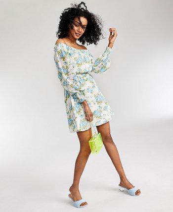 Платье с открытыми плечами и цветочным принтом LEYDEN