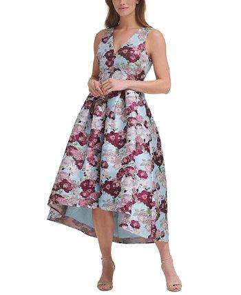 Floral-Print High-Low Gown Eliza J