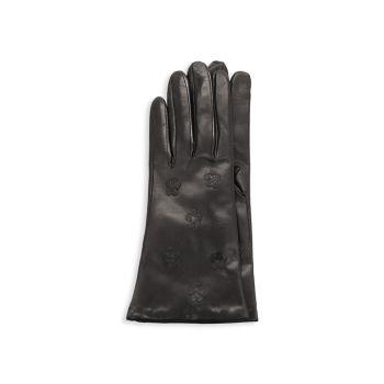 Кожаные перчатки с цветочным рисунком Portolano