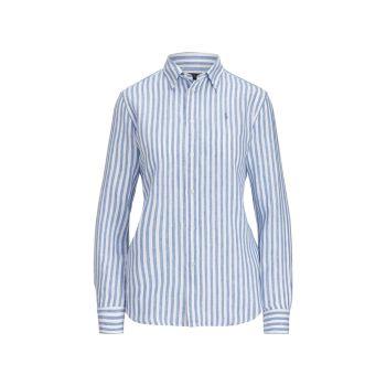 Льняная рубашка свободного кроя в полоску Polo Ralph Lauren