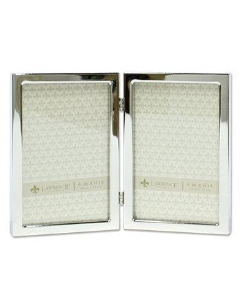 """Откидная двойная стандартная металлическая рамка для фотографий серебристого цвета - 4 """"x 6"""" Lawrence Frames"""