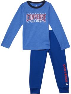 Star Joggers & Long Sleeve Tee (Little Kids) Converse Kids