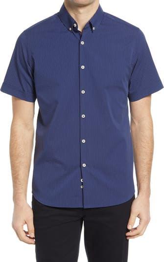 Рубашка из жатого хлопка с короткими рукавами на пуговицах Performance Apparel MOVE