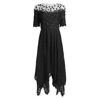 Кружевное платье трапециевидной формы с цветочной аппликацией SHANI