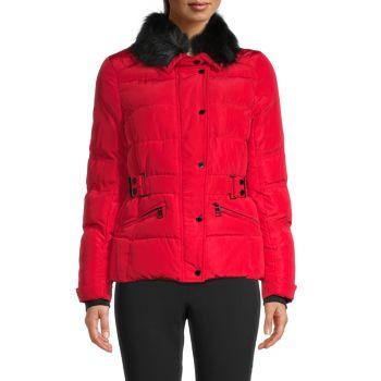 Куртка с поясом и воротником из искусственного меха Karl Lagerfeld Paris
