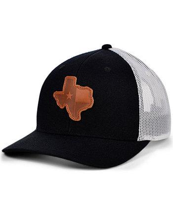 Черная белая кожаная изогнутая кожаная бейсболка Local Crowns TEXAS с нашивкой State Patch Lids