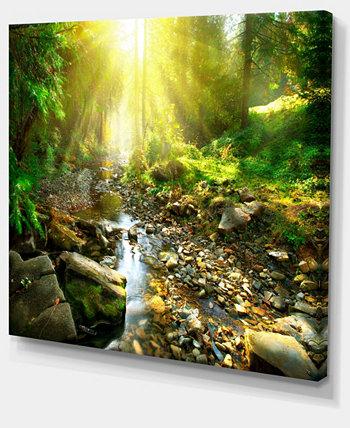 """Designart Горный ручей в лесу Пейзаж Фотография Картина на холсте - 20 """"X 12"""" Design Art"""