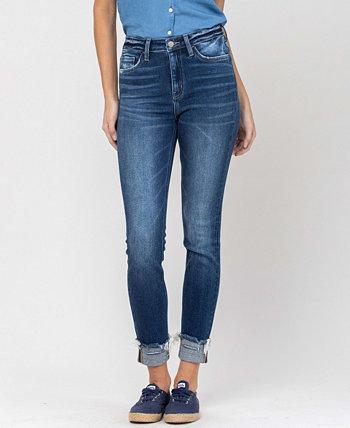 Женские джинсы скинни с потрепанным краем и 3D Whiskers средней посадки с манжетами FLYING MONKEY